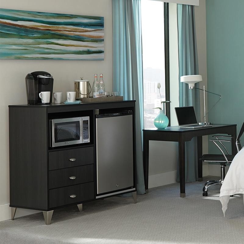 lang bold contemporary hotel furniture Micro Fridge Unit & Desk