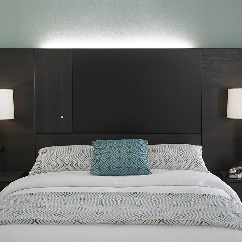 LED backlighting available on all headboards and wall guards